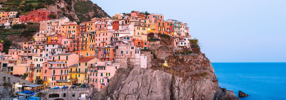 Stunning view of the beautiful and cozy village of Manarola. Liguria region of Italy.