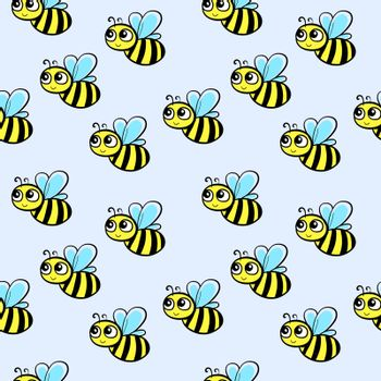 Bee pattern, illustration, vector on white background.