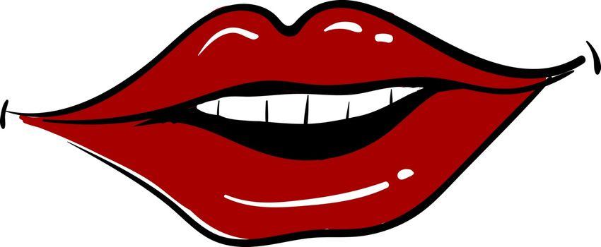 Red lips smiling, illustration, vector on white background.
