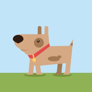 Dog on grass, illustration, vector on white background.