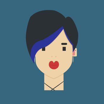 Rocker girl, illustration, vector on white background.