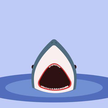 Shark in water, illustration, vector on white background.