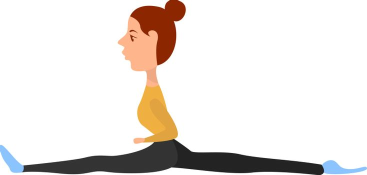 Girl sitting on twine, illustration, vector on white background.