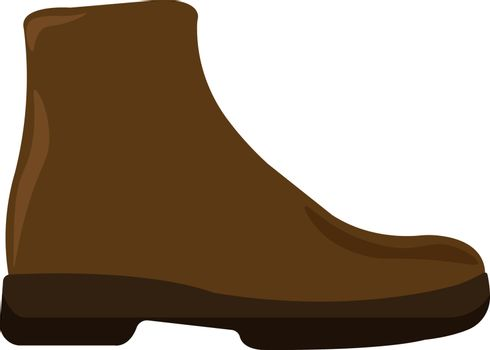 Brown boot, illustration, vector on white background.