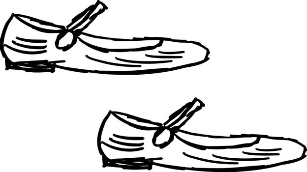 Ugly shoes drawing, illustration, vector on white background.