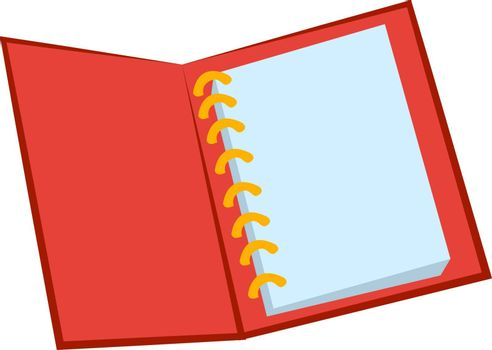 Red notebook, illustration, vector on white background.