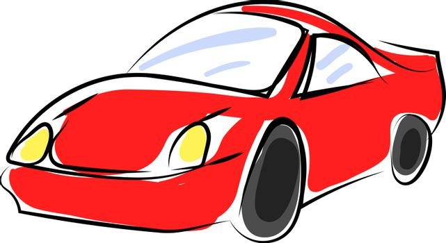 Red sport car, illustration, vector on white background.