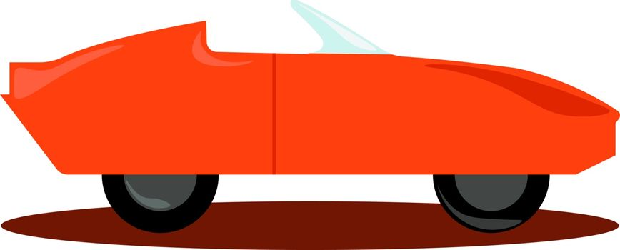Orange car, illustration, vector on white background.