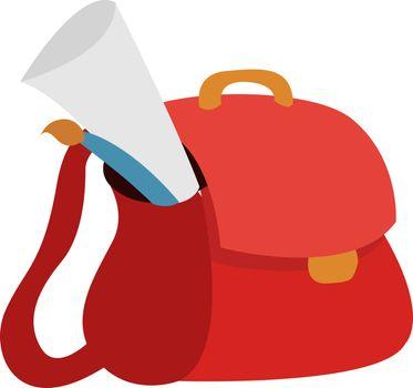 Schoolbag, illustration, vector on white background.