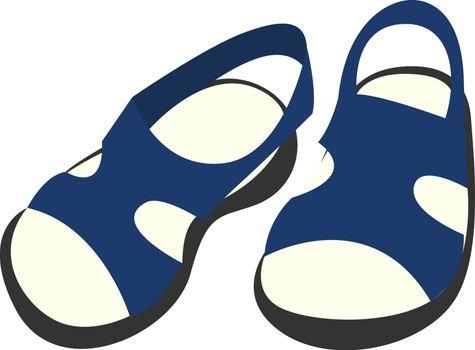 Blue shoes, illustration, vector on white background.