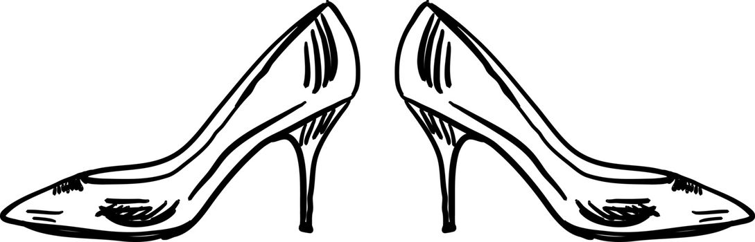 Girl heels, illustration, vector on white background.