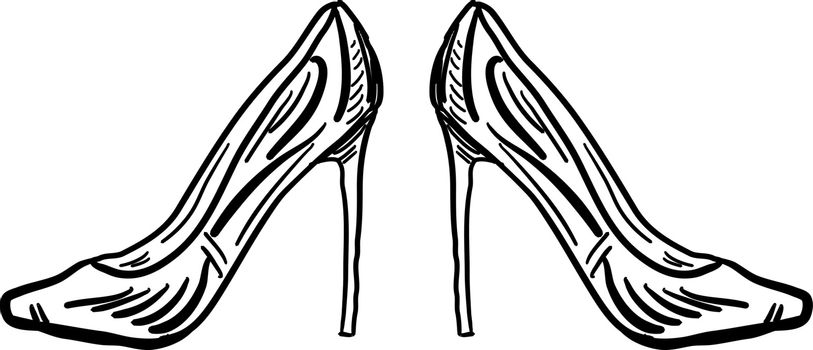 Ladies shoes sketch, illustration, vector on white background.