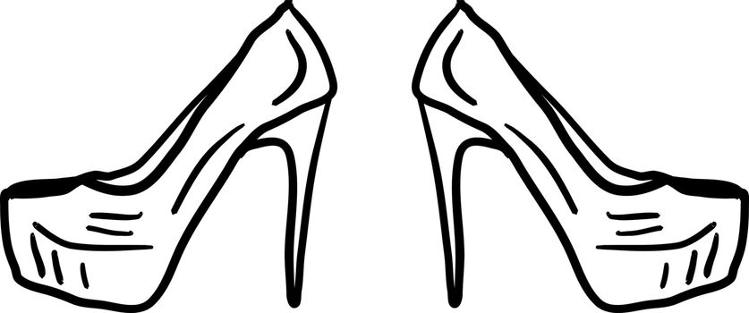 Ladies shoes, illustration, vector on white background.