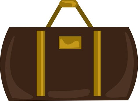 Brown suitcase, illustration, vector on white background.