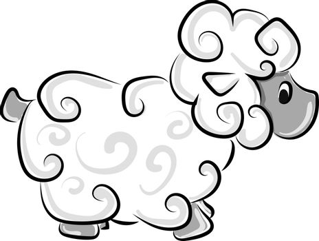 Ram sketch, illustration, vector on white background.