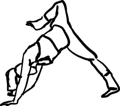 Girl doing yoga, illustration, vector on white background.