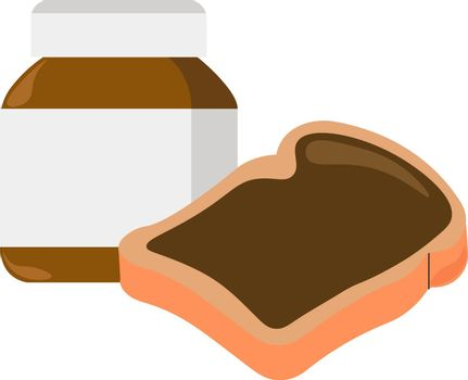 Nutella and bread, illustration, vector on white background.