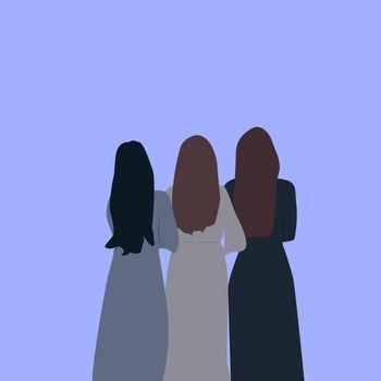 Womans back, illustration, vector on white background.
