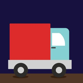 Truck, illustration, vector on white background.