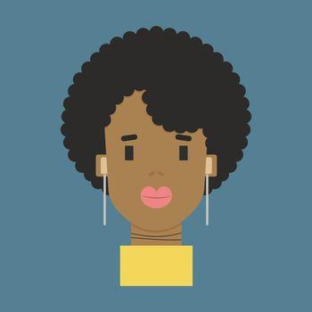 Black woman, illustration, vector on white background.