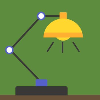 Table lamp, illustration, vector on white background.