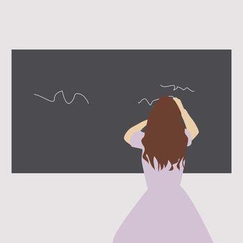 Girl writing on blackboard, illustration, vector on white background.