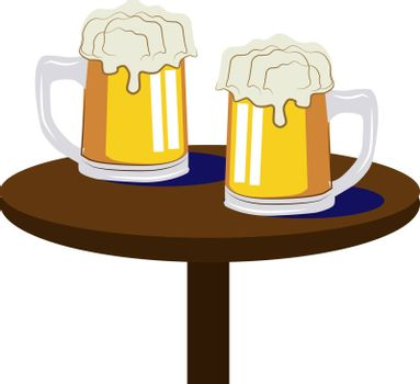Beer on table, illustration, vector on white background.