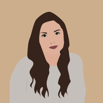 Girl with brown hair, illustration, vector on white background.