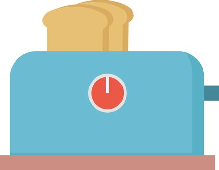 Blue toaster, illustration, vector on white background.