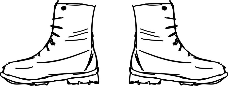 Mans boots, illustration, vector on white background.
