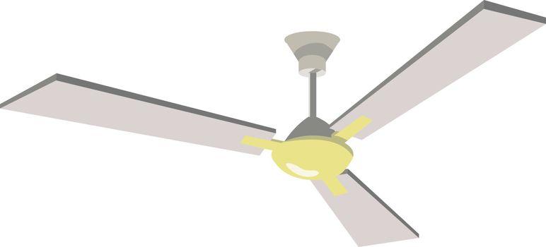 Ceiling fan, illustration, vector on white background.