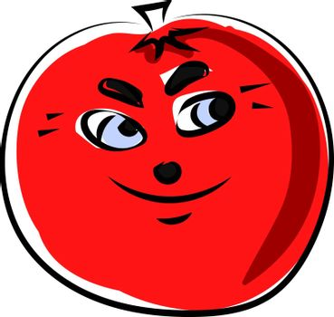 Tomato with eyes, illustration, vector on white background.