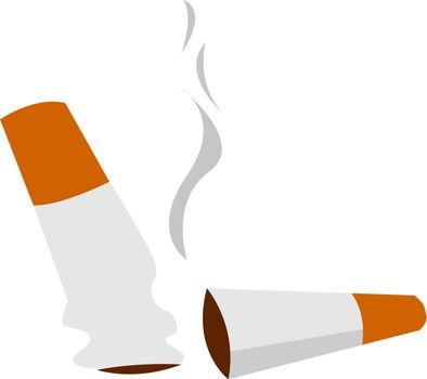 Cigarette butts, illustration, vector on white background.