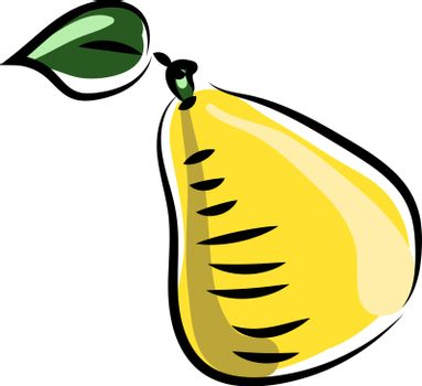 Yellow pear, illustration, vector on white background.
