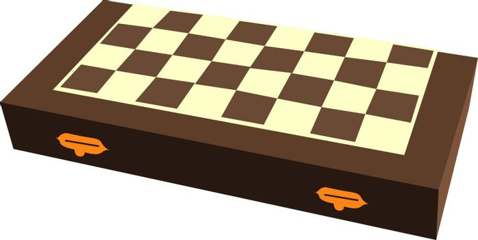 Chess board, illustration, vector on white background.