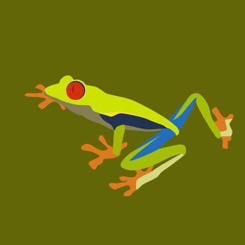Crazy frog, illustration, vector on white background.