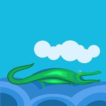 Crocodile in river, illustration, vector on white background.