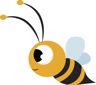 Cute bee, illustration, vector on white background.