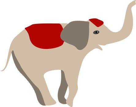 Elephant, illustration, vector on white background.