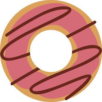 Donut pink, illustration, vector on white background.