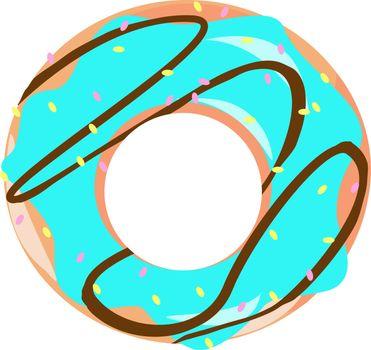 Blue donut, illustration, vector on white background.