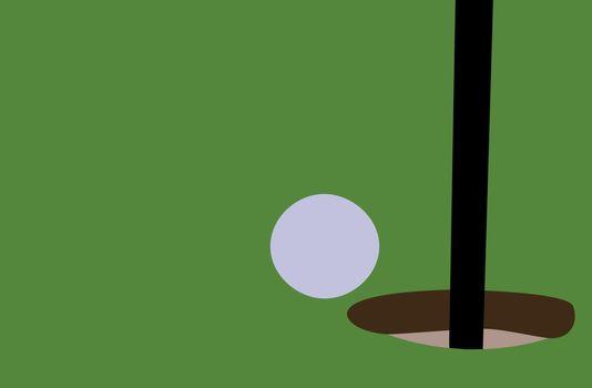 Golf ball on grass, illustration, vector on white background.