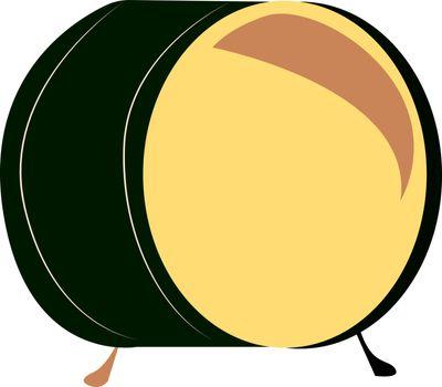 Green drum, illustration, vector on white background.