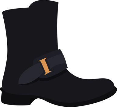 Black boot, illustration, vector on white background.