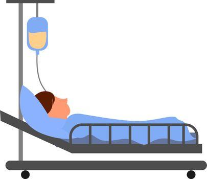 Hospital bed, illustration, vector on white background.