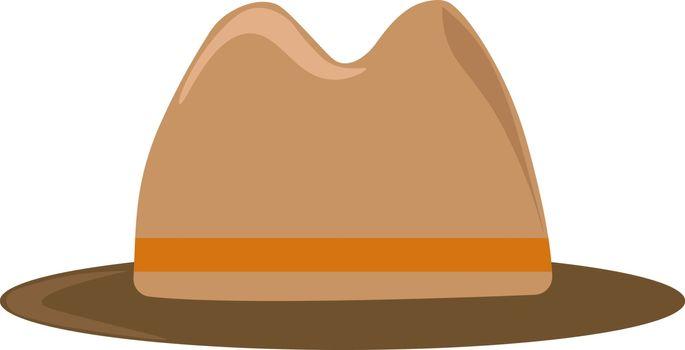 Brown hat, illustration, vector on white background.