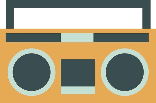 Retro radio, illustration, vector on white background.
