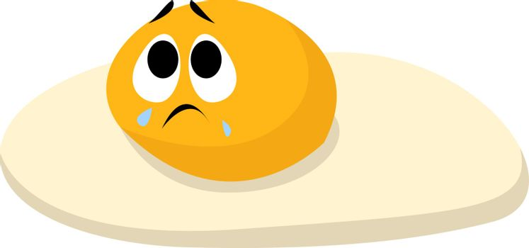 Sad egg, illustration, vector on white background.
