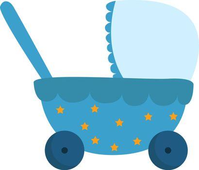 Little stroller, illustration, vector on white background.