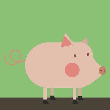 Pig, illustration, vector on white background.